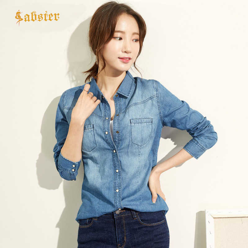 Fashion Lange Mouwen Casual Denim Shirt Vrouwen 2018 Drukknoop Katoenen Dames Shirt Plus Size Blue Jeans Shirt Camisa XZ118