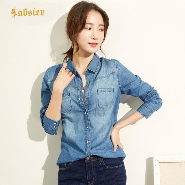 Модная одежда с длинным рукавом Повседневное джинсовая рубашка Для женщин 2018 кнопки Дамская хлопковая рубашка плюс Размеры синие джинсы рубашка Camisa XZ118