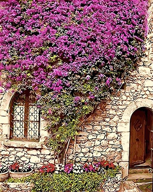 Fiori Viola Intorno Casa Picture Pittura A Olio By Numbers Disegno