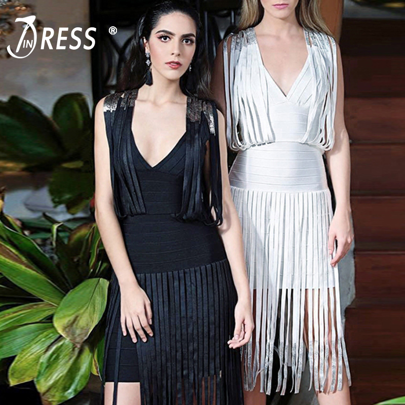 INDRESSME 2017 New Arrival Sexy Tassel Midi Deep V Backless Spaghetti Strap Summer Autumn Women Lady Bandage Dress Vestidos женское платье brand new 2015 v midi vestidos dress