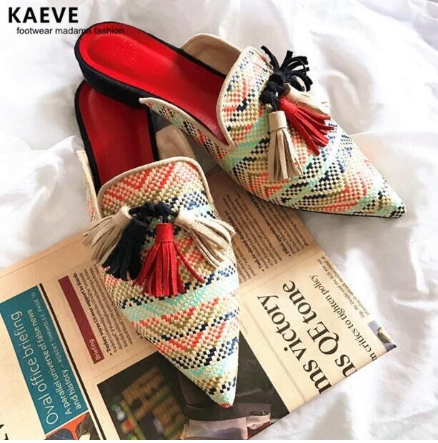 KAEVE Newest Rattan grass Pointed Toe Flat Slippers women fringe flip flops knitted Tassel mules Lazy beach Shoes women slides