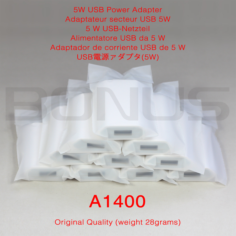 Original Quality A1400 USB Power Adapter USB Charger EU Plug Power Charger For IPhone 10pcs/Lot Free Shipping No Retail Box
