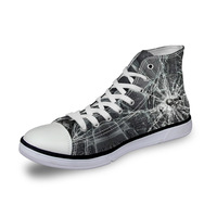 Noisydesigns ladies vintage high top sneakers girls casual lace up vulcanized Women gray broken glass 3D print flat canvas shoes