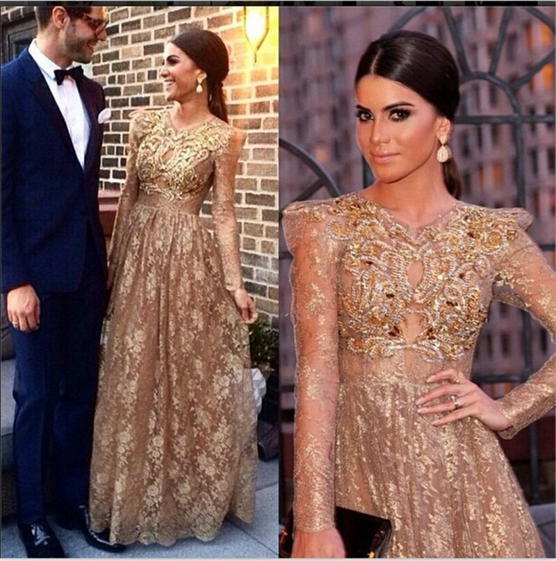 Sparkling Jewel Sheer Long Sleeve Champagne Lace with Gold Sequins Beads Long   Evening     Dresses   2014 Vestido