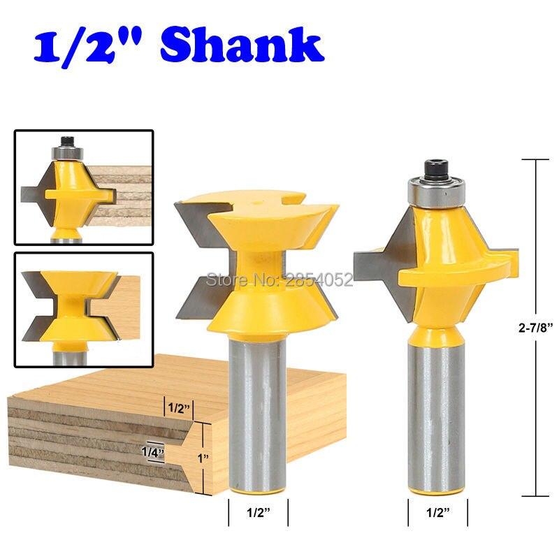 2Pcs 1/2 Shank Router Bit Set 120 Degree Woodworking Groove Chisel Cutter Tool 2pcs 1 2 shank router bit set 120degree woodworking groove chisel cutter tool g205m best quality