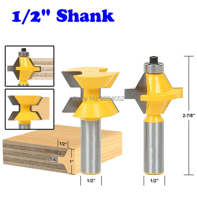 "2Pcs 1/2"" Shank Router Bit Set 120 Degree Woodworking Groove Chisel Cutter Tool"