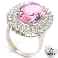 6.9g Real 925 Solid Sterling Silver Ravishing Top Pink Kunzite CZ Woman's Engagement Rings US 7.5# 26x22mm