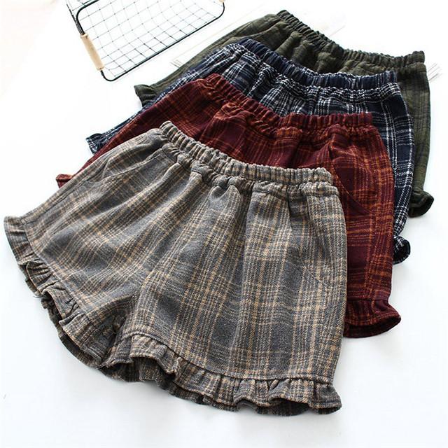 Primavera Otoño Señoras Elásticos de La Cintura Pantalones Cortos Pantalones Strech Con Un Patrón De Colores de la Tela Escocesa Con Estilo Preppy/Nuevo Japonés estilo