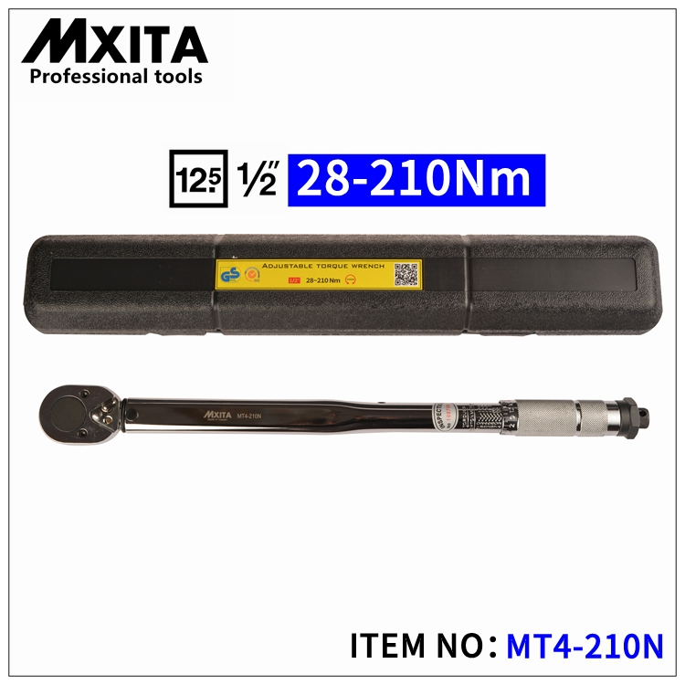 MXITA 1/2'' Drive 28-210NM Torque Wrench Tools Case Foot Pound Drive Click Adjustable Hand Spanner Ratchet Wrench Tool mxita 1 2 5 60n adjustable torque wrench hand spanner car wrench tool hand tool set