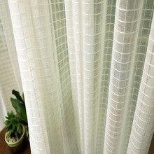 Геометрический однотонный тюль для гостиной, современные белые прозрачные Занавески, ткань для вуали, Висячие жалюзи, оконные шторы