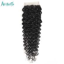 Ali Berrys Hair Free Part Closure Remy Brazilian Deep Wave Human Hair Lace Closure 10-20 Inch Narutal Color Free Ship