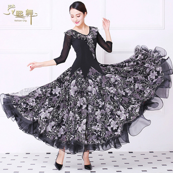 Customized Ballroom Dancing Dress Girls Moden Dancing Competition Dress Female Waltz Dancing Suit Half Sleeve V Neck D-0361