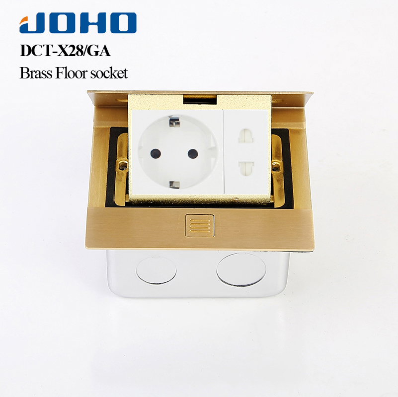 JOHO Brass Alloy Cover Slow Pop Up Floor Socket Box Panel Home Appliances With 16A European Socket And RJ45 Data Plug In Socket brass slow pop up floor socket box with 15a 125v us socket rj45 computer data