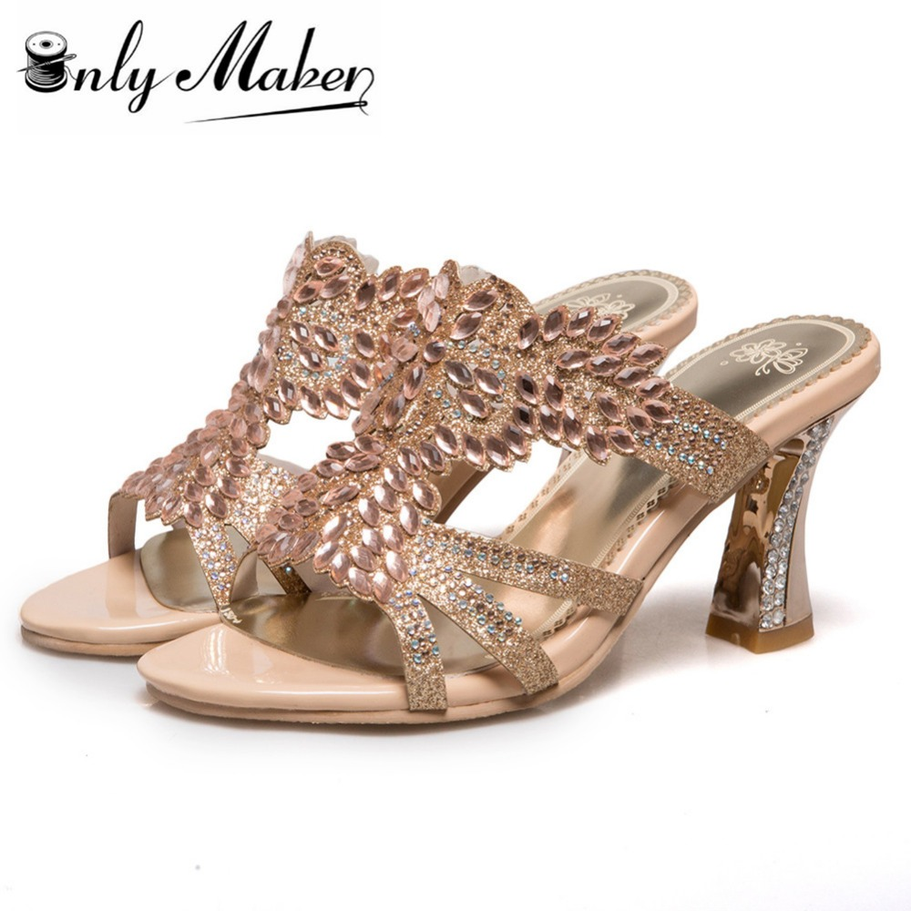 Women's sandals with bling - Rhinestone Sandals Heels