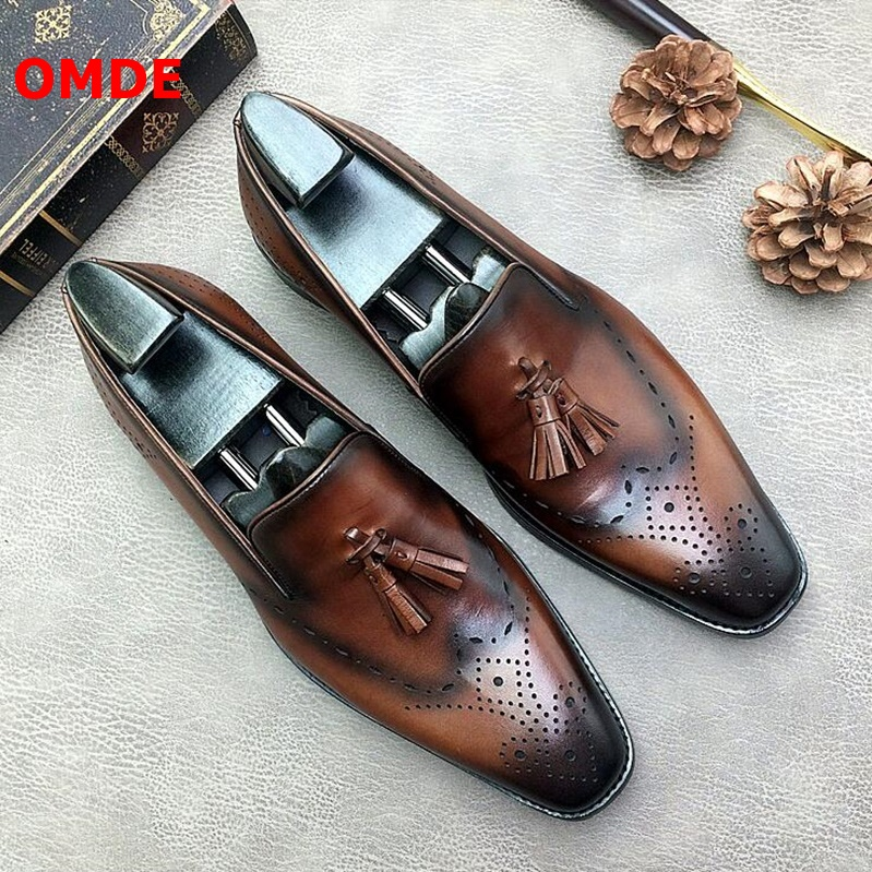 OMDE Men Leather Loafers Luxury Brogue Tassel Mens Dress Shoes Breathable Slip On Casual Men Shoes