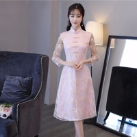 2018 New Ao Dai Chinese Vintage Style Lace Cheongsam Improved Daily National Wind Retro Qipao Dress