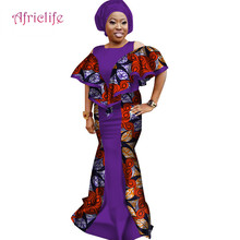 Fashion African Dresses for Women Ruffle Sleeve Mermaid Splice Long Dress Plus Size African Print Dress Women Clothing WY3136 trendy long sleeves voile splice mermaid dress for women