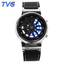 2016 Hot Sale Brand TVG Fashion LED Watch Steel Case Black Silicone Strap Wristwatches Unique Display Time Waterproof