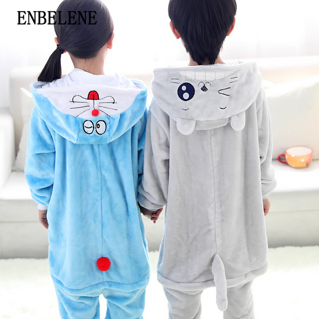 2c4fe0e71626 2018 winter children animal hooded blanket sleepers for boys girls flannel  polyester totoro cat kids sleepwear pajamas FE247