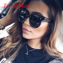 9da83c7d5a9 2018 Luxury Italian Brand Sunglasses Women Crystal Cat Eye Sunglasses  Mirror Retro Full Star Sun Glasses Female Black Grey 1193T