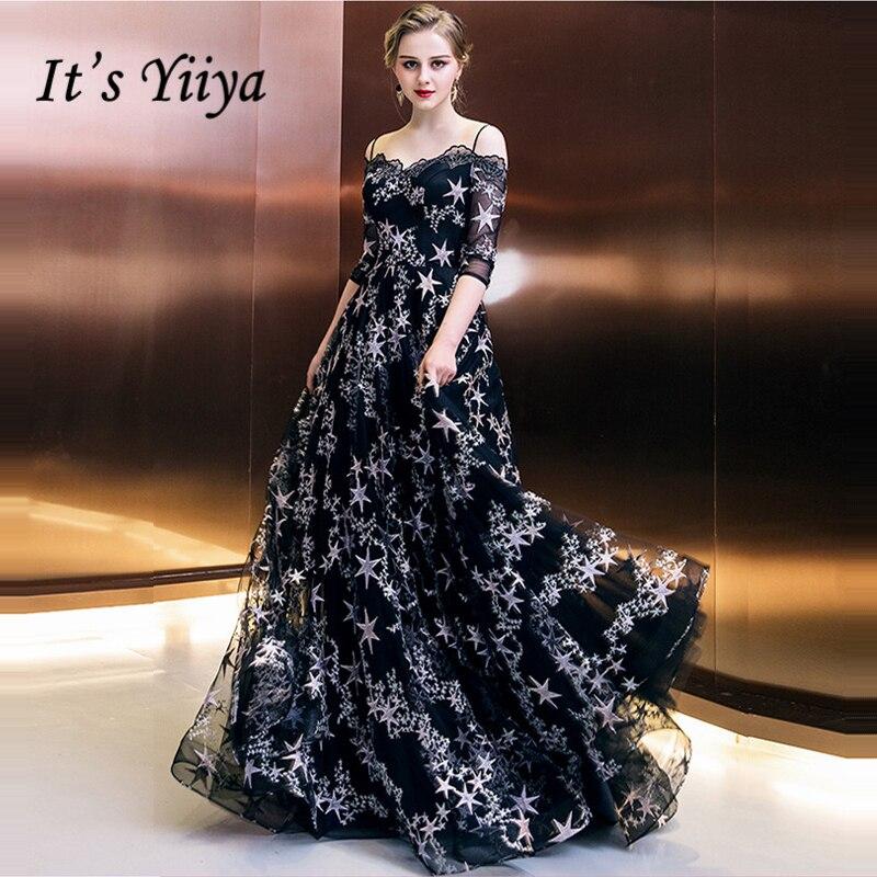 Il de Yiiya Formelle Robes De Soirée Bateau Cou Demi Manches Noir Étoiles Tirages Plancher Longueur De Mode Designer Formelle Robe LX993