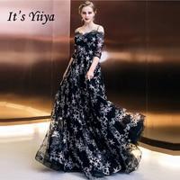 It's Yiiya Formal Evening Dresses Boat Neck Half Sleeve Black Stars Prints Floor Length Fashion Designer Formal Dress LX993