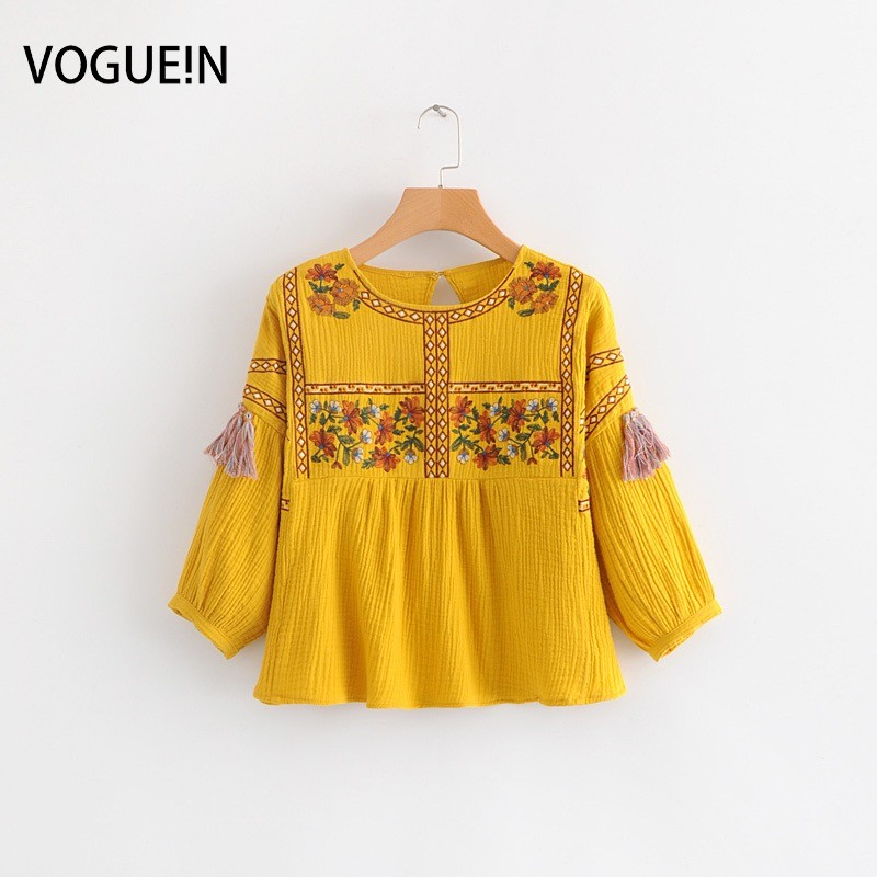 VOGUEIN New Womens Floral Embroidered 3/4 Sleeve Yellow   Blouse     Shirt   Tops Wholesale