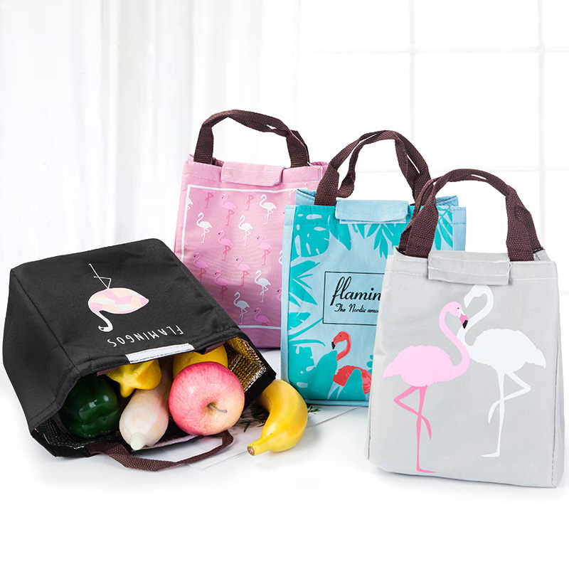 Flamingo Printed Handbag Portable Lunch Bag Travel Picnic School Insulated Cooler Bags Hot Sale
