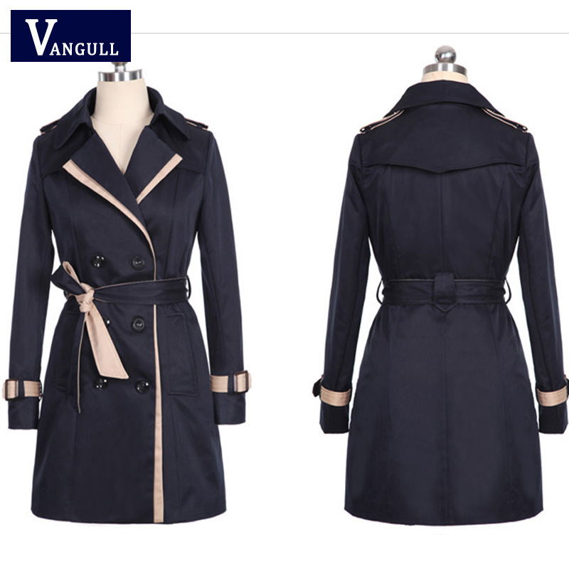 Vangull 2019 Fashion Women Thin Trench Coat Turn down Collar Double Breasted Patchwork Long Trench Coat