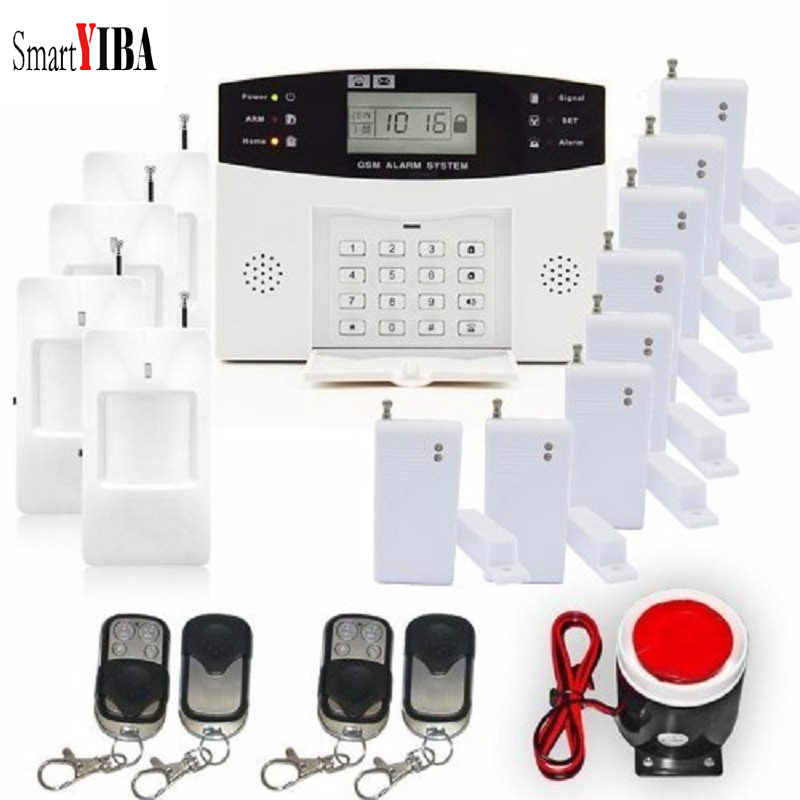 SmartYIBA Office House Burglar GSM SMS Security Alarm System Home Security Alarm Sensor Detector Panic Alert Alarm