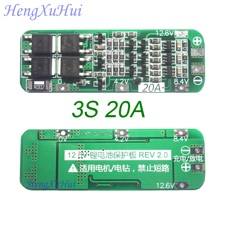 3S 20A Li ion Lithium Battery PCB Protection Board 12 6V AUTO Recovery Standard and Enhanced