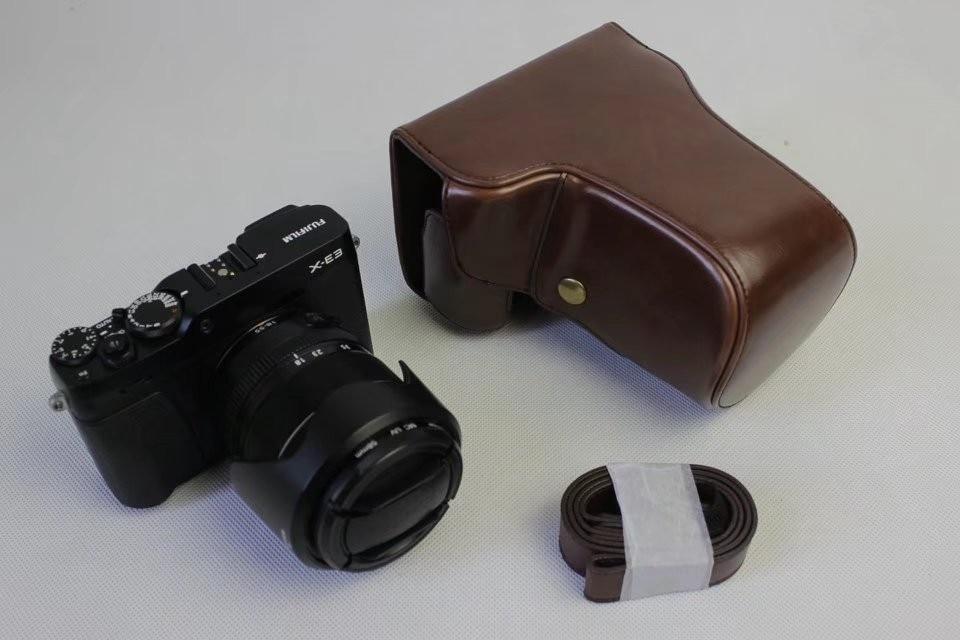 New PU Leather Camera Bag Case Body for FUJI Fujifilm XE3 X-E3 With Strap  Black Coffee Brown