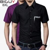 5xl 6xl 7xl 8xl Plus Size Men Summer Shirt Short Sleeve 2017 Mens Dress Shirts Black