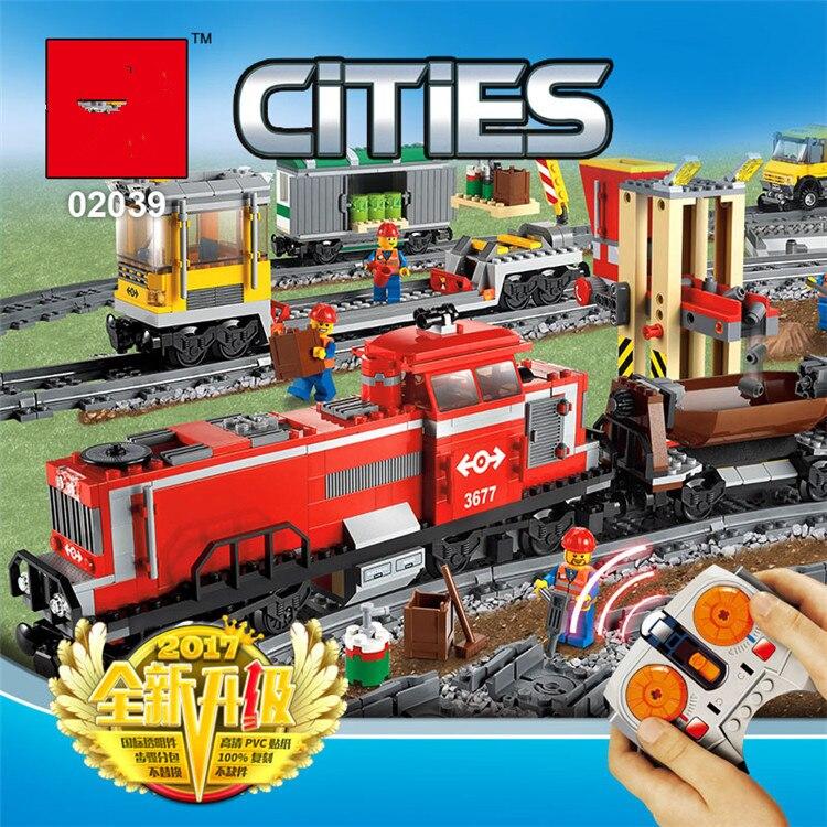 898 pièces technic série le Train de fret rouge 02039 Set bricolage compatible ville série 3677 blocs de construction briques jouets