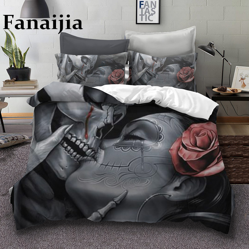 Fanaijia Sugar Rose Skull Bedding Set King Kiss Skull Duvet Cover Bed Set Husband And Wife Skull Print Bedclothes Queen Size
