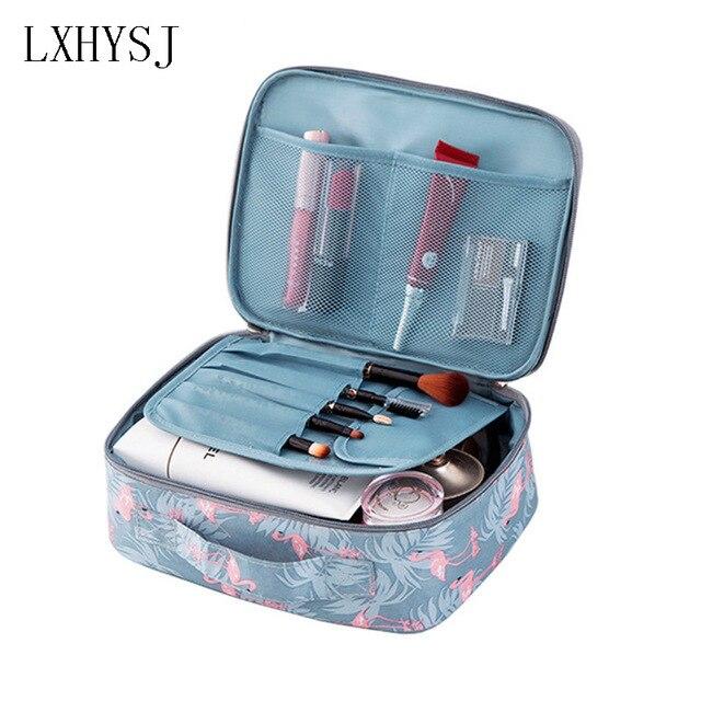Brand Flamingo Women Makeup Kit Beautician Organizer Cosmetic Bag Travel  Portable Large Capacity Toiletry Bag 24d67d0ee8aec