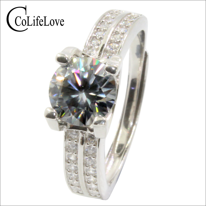 Klassische design Moissanite ring für hochzeit 7mm runde brillant cut Moissanite silber ring 925 silber Moissanite schmuck-in Ringe aus Schmuck und Accessoires bei  Gruppe 1