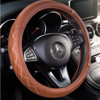 14 9in Car Steering Wheel Cover Universal Breathable Anti Slip Wear Micro Fiber Leather For Volvo