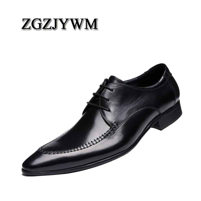 Homens Couro Sapatos Zgzjywm up Negócios Oxfords outono Buckle Preto Vestido Fino Moda De Primavera Luxo Black Para Bico Genuíno Lace ZpSYxU