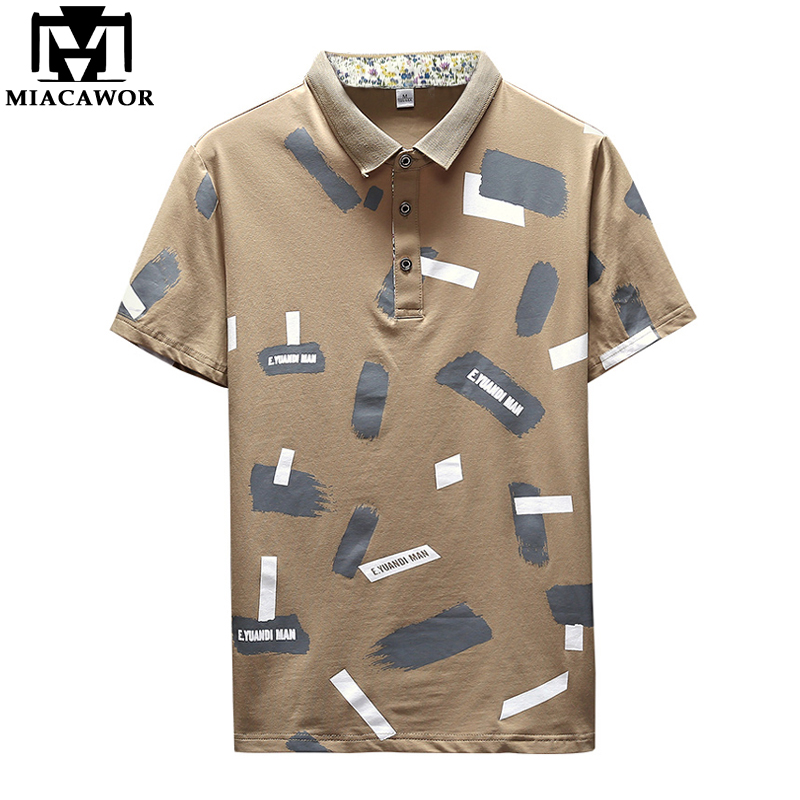 MIACAWOR New British Style   Polo   Shirt Men Fashion Print   Polo   Homme Cotton Summer Short-sleeve Casual Men   Polos   Tops MT650
