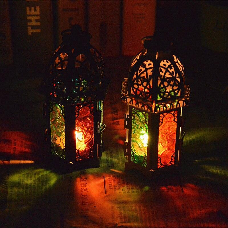 colgante de pared de estilo europeo coloreado de cristal titular de la vela de la boda candelabro colgando linterna hogar artesa
