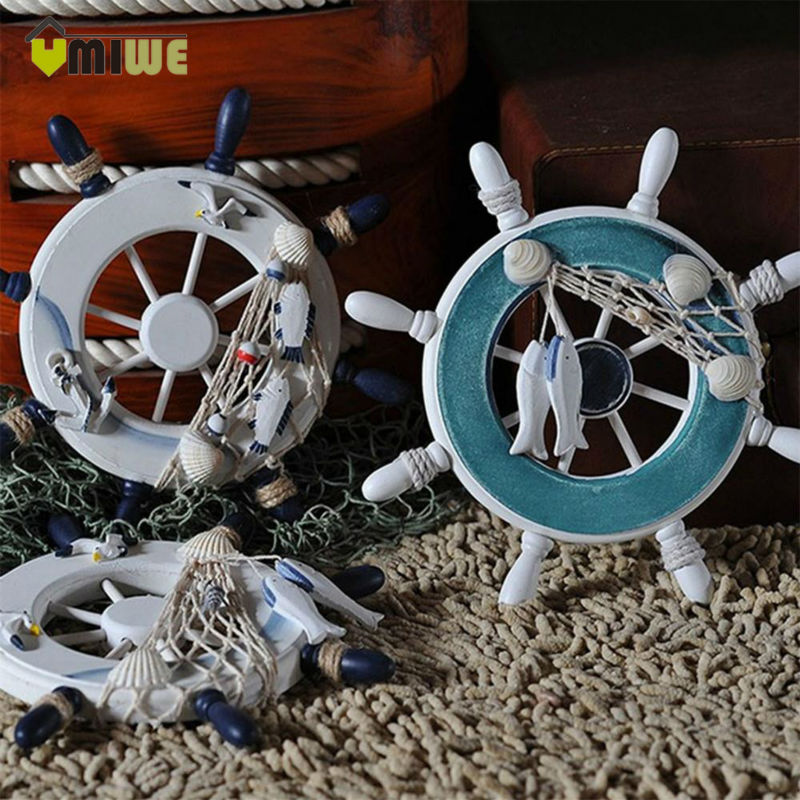 23cm Ornamental Home Hangings Nautical Marine Pirate Ship Home Decor Wood Crafts Helm Wheel Wall Decoration For Boys Kids Room