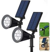 2 In 1 Outdoor Solar Lights 4 LEDs Waterproof Landscape Lighting Spotlight Wall Light For Yard