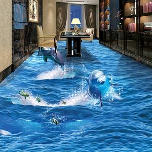 Image 2 - PVC 自己接着防水クリエイティブジャンプイルカフォト壁紙 3D 床壁画リビングルーム浴室摩耗ノンスリップステッカー