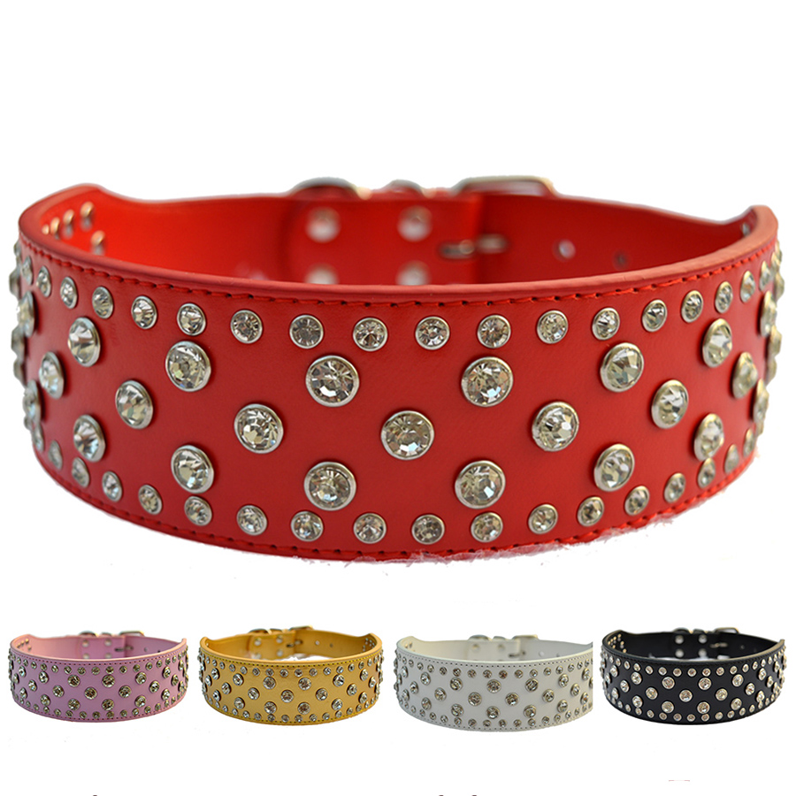 Fashion Diamante Dog Collar Large 2 Inch Wide Pu Leather Collar For Pitbulls Pet Products For Animals Big Dog Supplies
