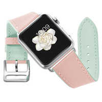 Pink Genuine Leather Women Watch Band for Apple Watch 38mm 40mm 42mm 44mm Series 4 3 2 1 Leather Strap Iwatch Bracelet Belt