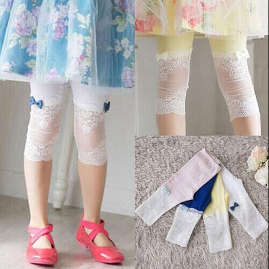 uşaqlar yay şalvar qızlar modal + krujeva dana uzunluğu leggings - Uşaq geyimləri - Fotoqrafiya 6