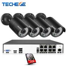Techege H.265 8Ch 4MP POE NVR CCTV Camera System 4MP POE IP Camera 2592*1520 Outdoor Waterproof Video Security Surveillance Kit