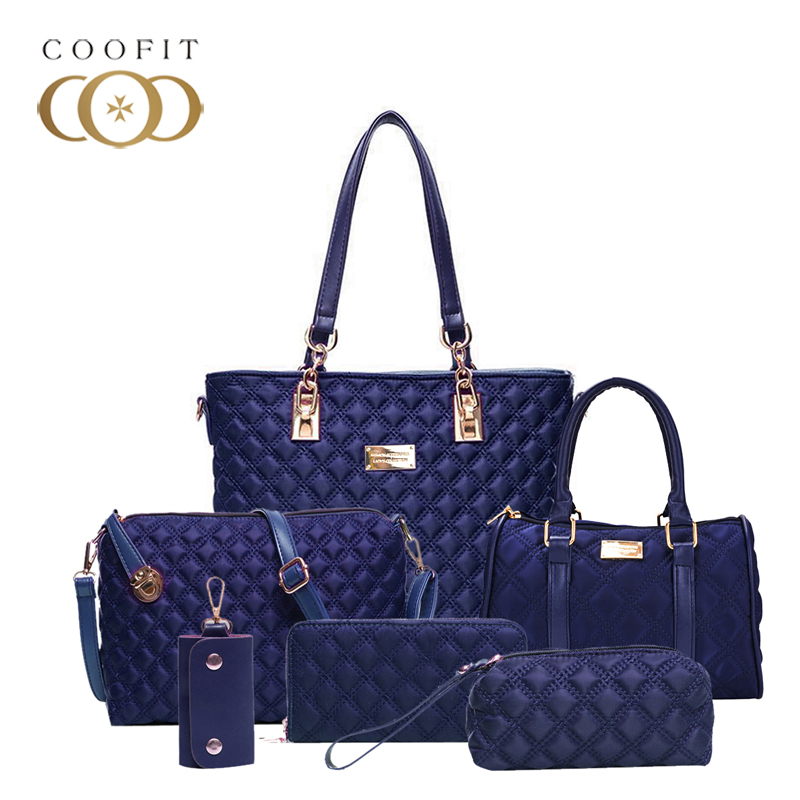 coofit 6 Pcs set Women Bag Lady Handbag Nylon Shoulder Crossbody Bag For Girl Composite Bags