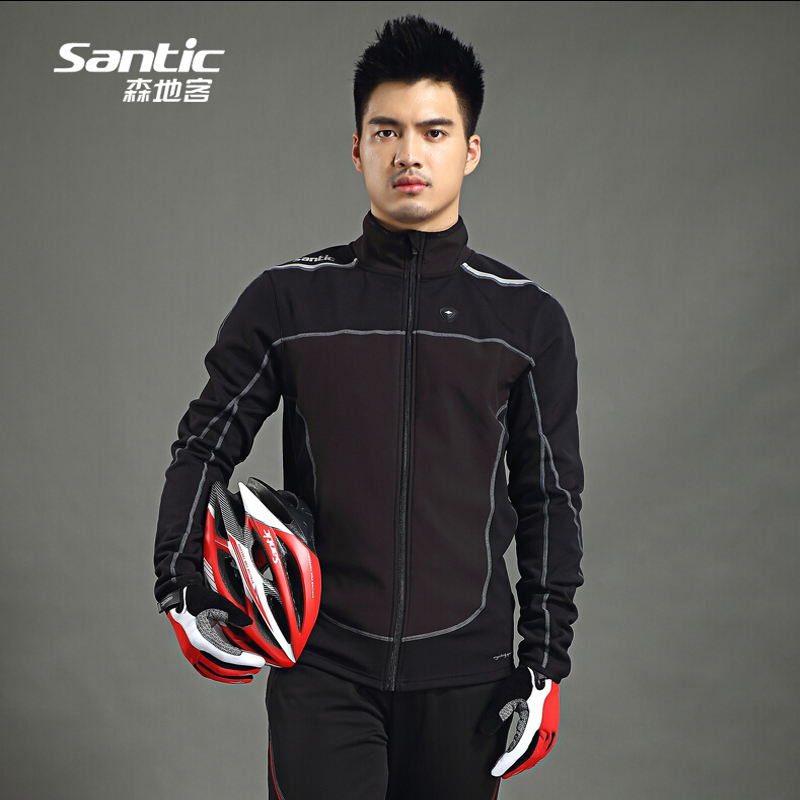 2017 Men Santic Thermal Cycling Jacket Winter Fleece Bicycle Windproof Warm Cold Antistatic Sports Coat MTB Bike Jersey veobike winter windproof thermal fleece reflective bike bicycle jersey warm cycling wind coat jackets pants set for men women